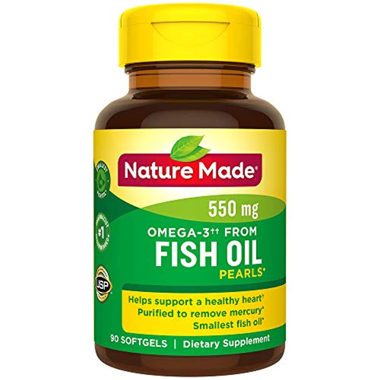 Nature Made Fish Oil Pearls 500 Mg Softgel, 90 Count 海外直送品