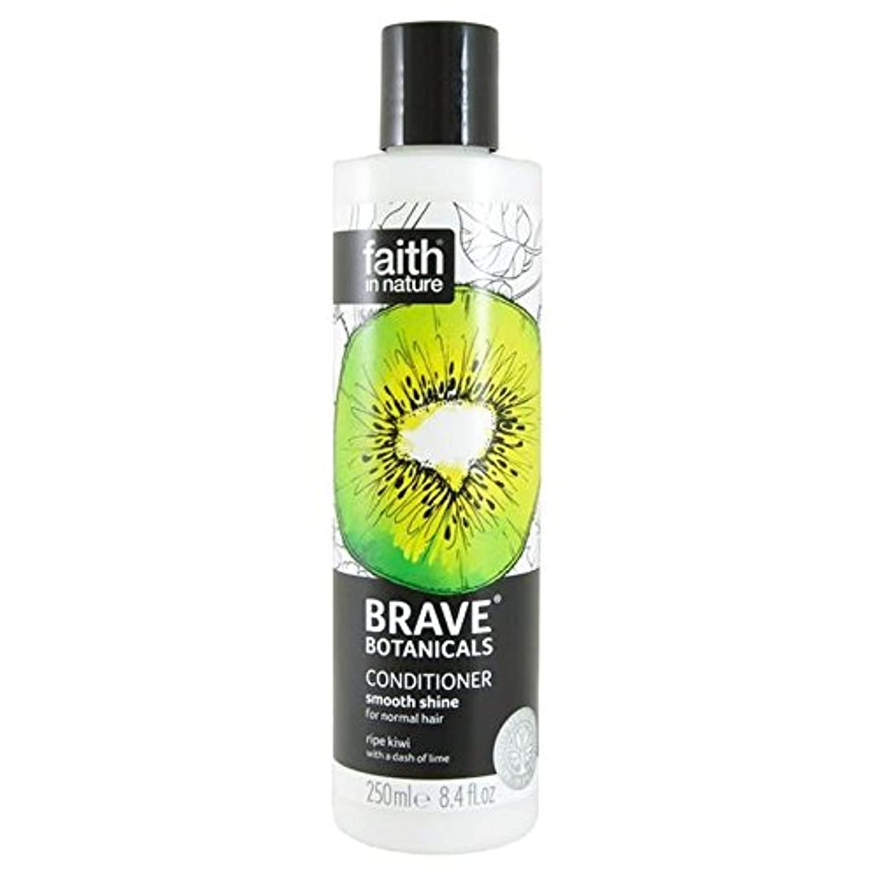 カウント九モンキーBrave Botanicals Kiwi & Lime Smooth Shine Conditioner 250ml (Pack of 4) - (Faith In Nature) 勇敢な植物キウイ&ライムなめらかな輝...