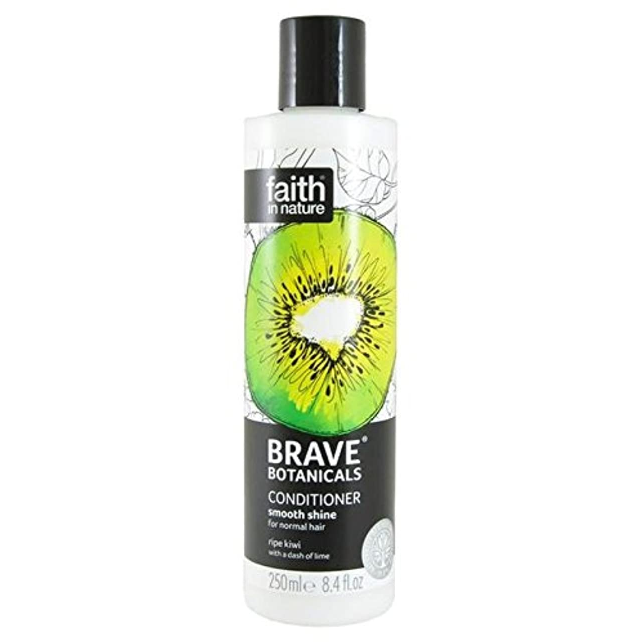 リフト格納アーサーBrave Botanicals Kiwi & Lime Smooth Shine Conditioner 250ml (Pack of 4) - (Faith In Nature) 勇敢な植物キウイ&ライムなめらかな輝...