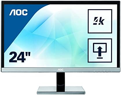 "AOC U2477PWQ PLS 23.6"" Black,Silver 4K Ultra HD"