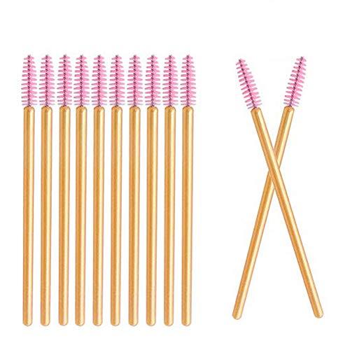 Deksias 100本金色の竿まつげブラシ 使い捨て スクリューブラシ マスカラブラシ まつげコーム メイクブラシ アイメイク 化粧用品 (ピンク)