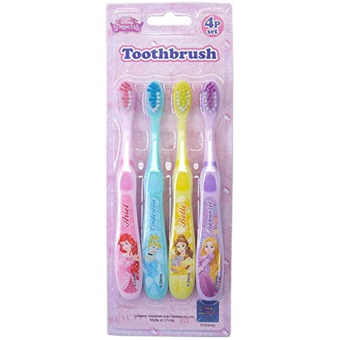 静かなマトン弾薬歯ブラシ4Pセット 26911-12(11/プリンセス) キャラクター Disney ディズニー オーラルケア 歯磨き 洗面所 子供 キッズ