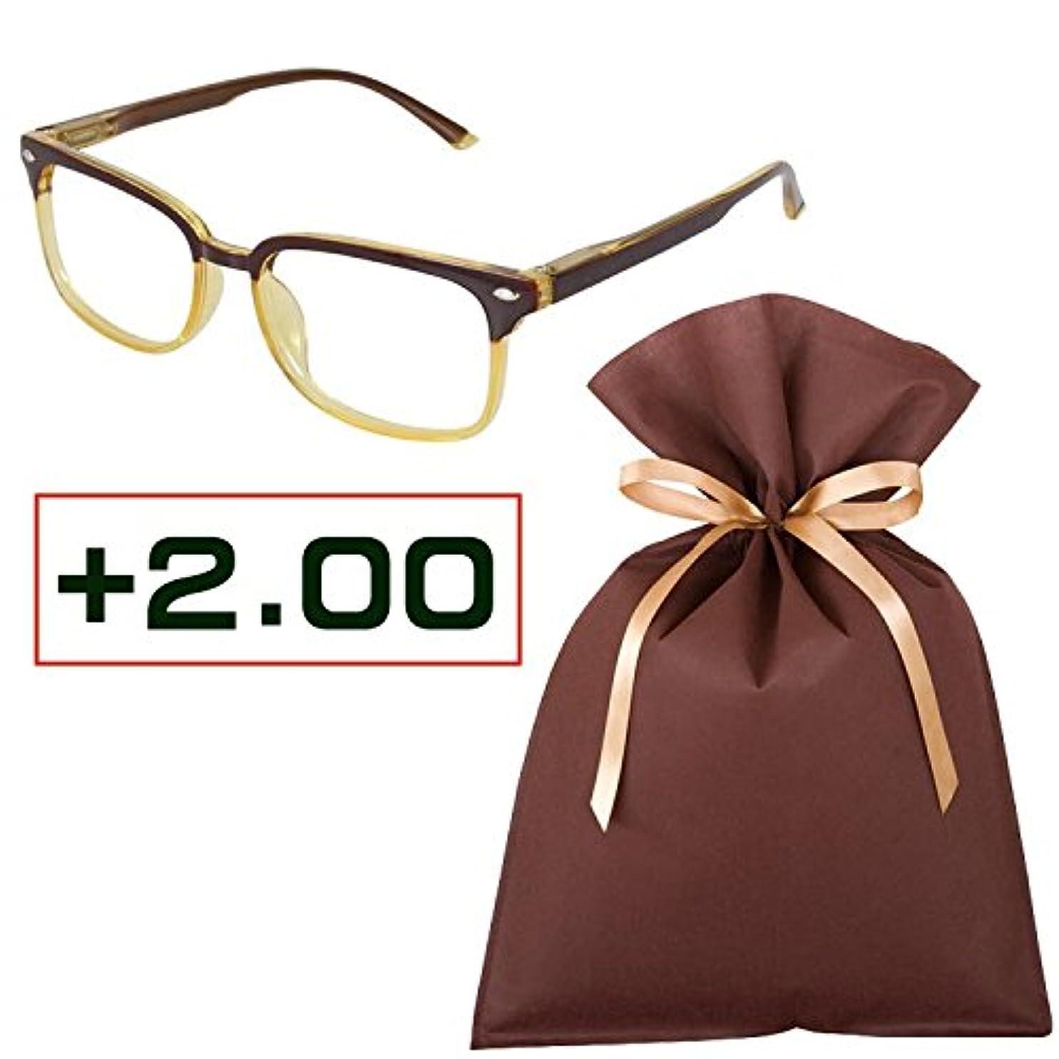 老眼鏡ギフトセット(+2.00)READING GLASSES BR/YL 2.0