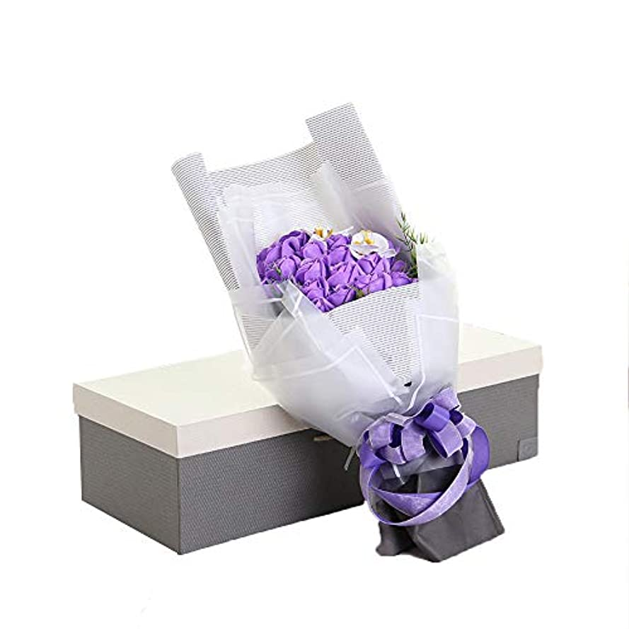 税金アテンダント更新手作り29石鹸花の花束ギフトボックス、女性のためのギフトバレンタインデー、母の日、結婚式、クリスマス、誕生日(ベアカラーランダム) (色 : 紫の)