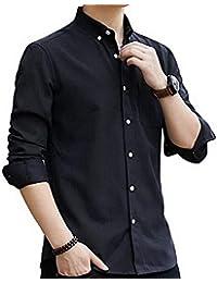 Flyshion メンズ シャツ長袖オックスフォードシャツ カジュアル シャツ 無地綿 ビジネス 大きいサイズ シャツ 春 秋 冬[M-3XL]