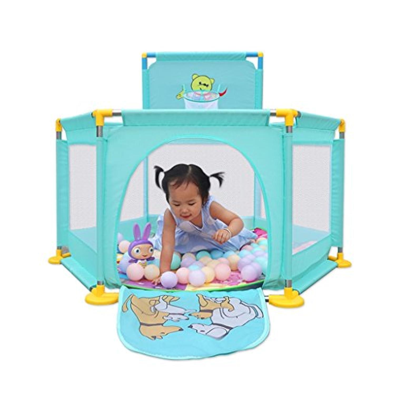 保護フェンスPlaypensキッズプレーヤード屋内子供の遊びフェンスベビークローリングフェンスホーム安全幼児フェンス (Color : Green, Size : 128 * 66cm)