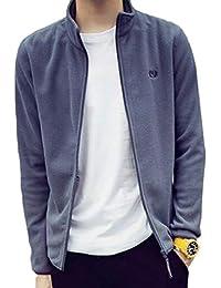 gawaga メンズスリムプレーンモックネックジップアップスウェットシャツスポーツフリースジャケット