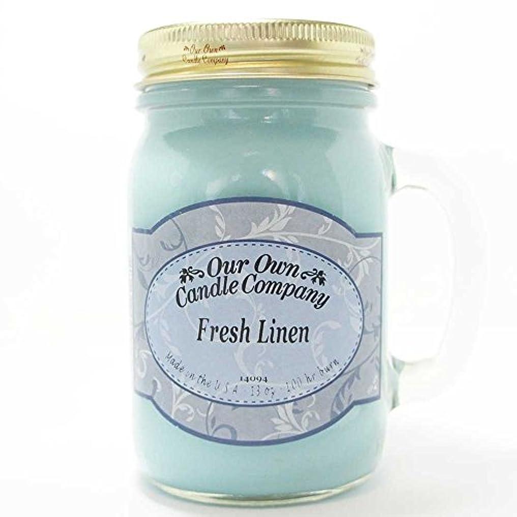 持参泣く腕アロマキャンドル メイソンジャー フレッシュリネン ビッグ Our Own Candle Company Fresh Linen big