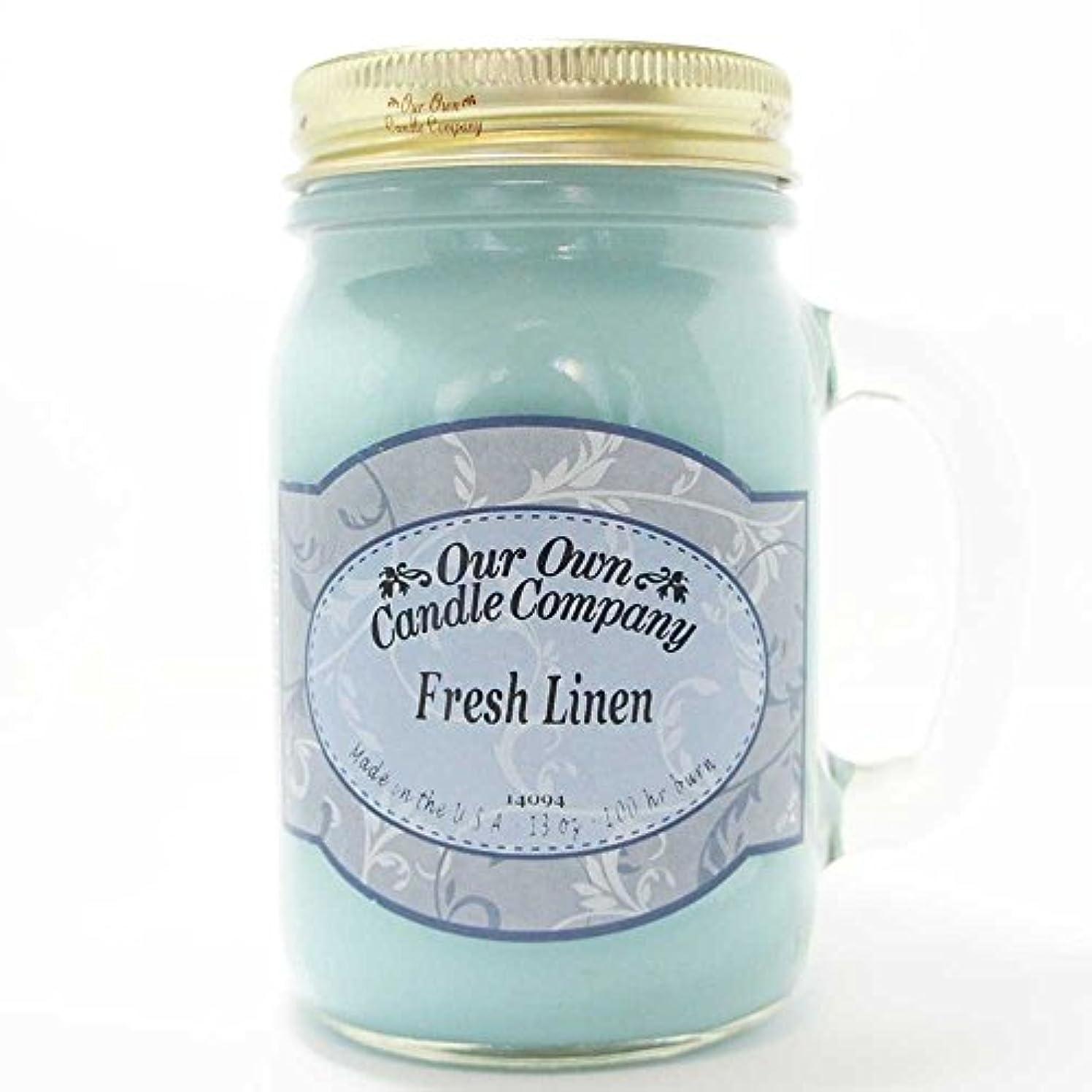 コショウくぼみダブルアロマキャンドル メイソンジャー フレッシュリネン ビッグ Our Own Candle Company Fresh Linen big