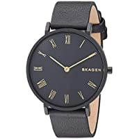 Skagen Women's 'Hald' Quartz Stainless Steel and Leather Casual Watch, Color:Black (Model: SKW2745)