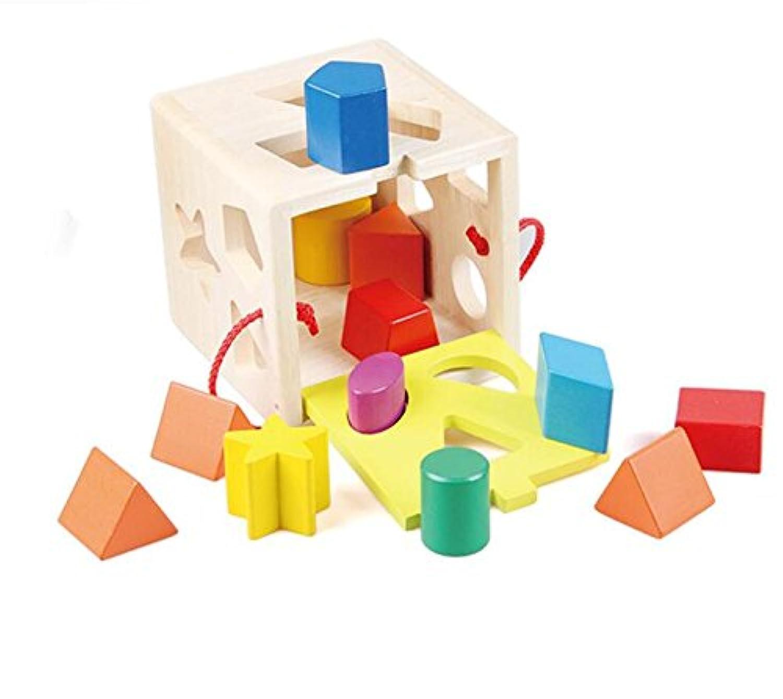 HuaQingPiJu-JP 子供のためのブランドの新しい木製の形状ソーター幾何学的な並べ替えボックス教育形状色認識玩具