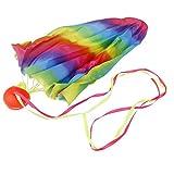 【ノーブランド 品】子供 おもちゃ ミニパラシュート 玩具パラシュート 空飛ぶ 3-7歳の子供 70cm レインボー印刷