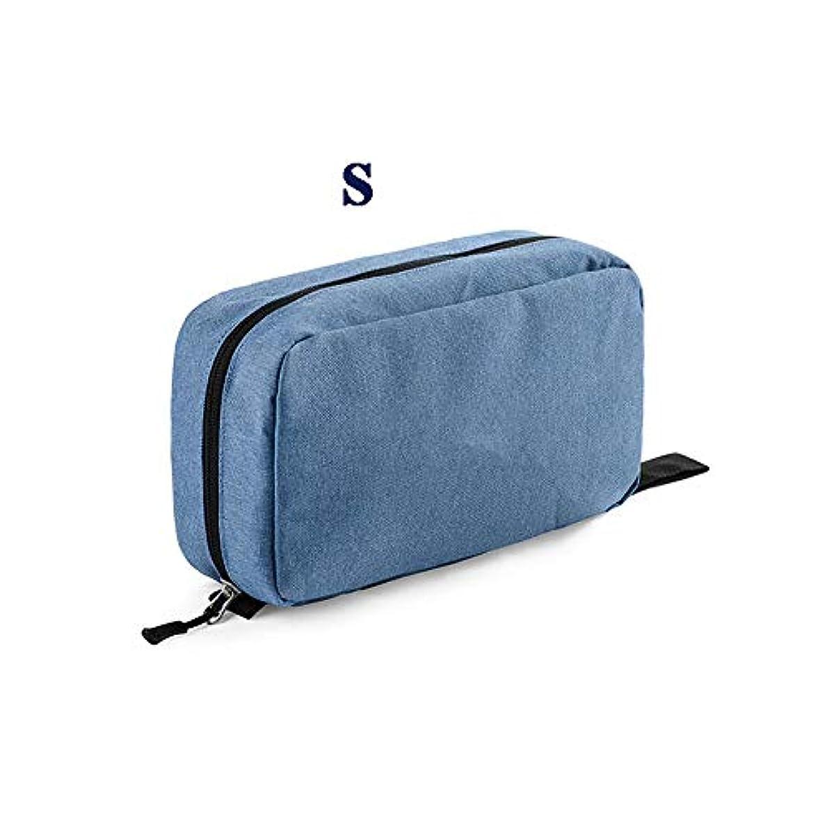 もちろん重要な受け入れる化粧オーガナイザーバッグ ポータブルジッパー収納バッグ用化粧品化粧ブラシプロの旅行化粧バッグ旅行アクセサリー大容量防水ウォッシュバッグ 化粧品ケース (色 : 青, サイズ : S)