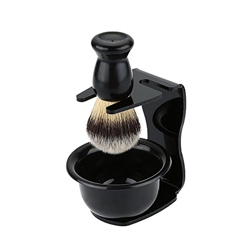 ドライ通知するRakuby 3点セット シェービングブラシキット シェービングブラシ+スタンド+ ソープボウル 洗顔ブラシ 泡立ち 髭剃り 男性用 ダンナ 父親 父の日 プレゼント ブラシアクセサリー