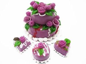 Dolls House Miniatures Food 4 Lilac Rose Cake Set 2 Layer 1 cm Cakes 10202 ドール 人形 フィギュア(並行輸入)