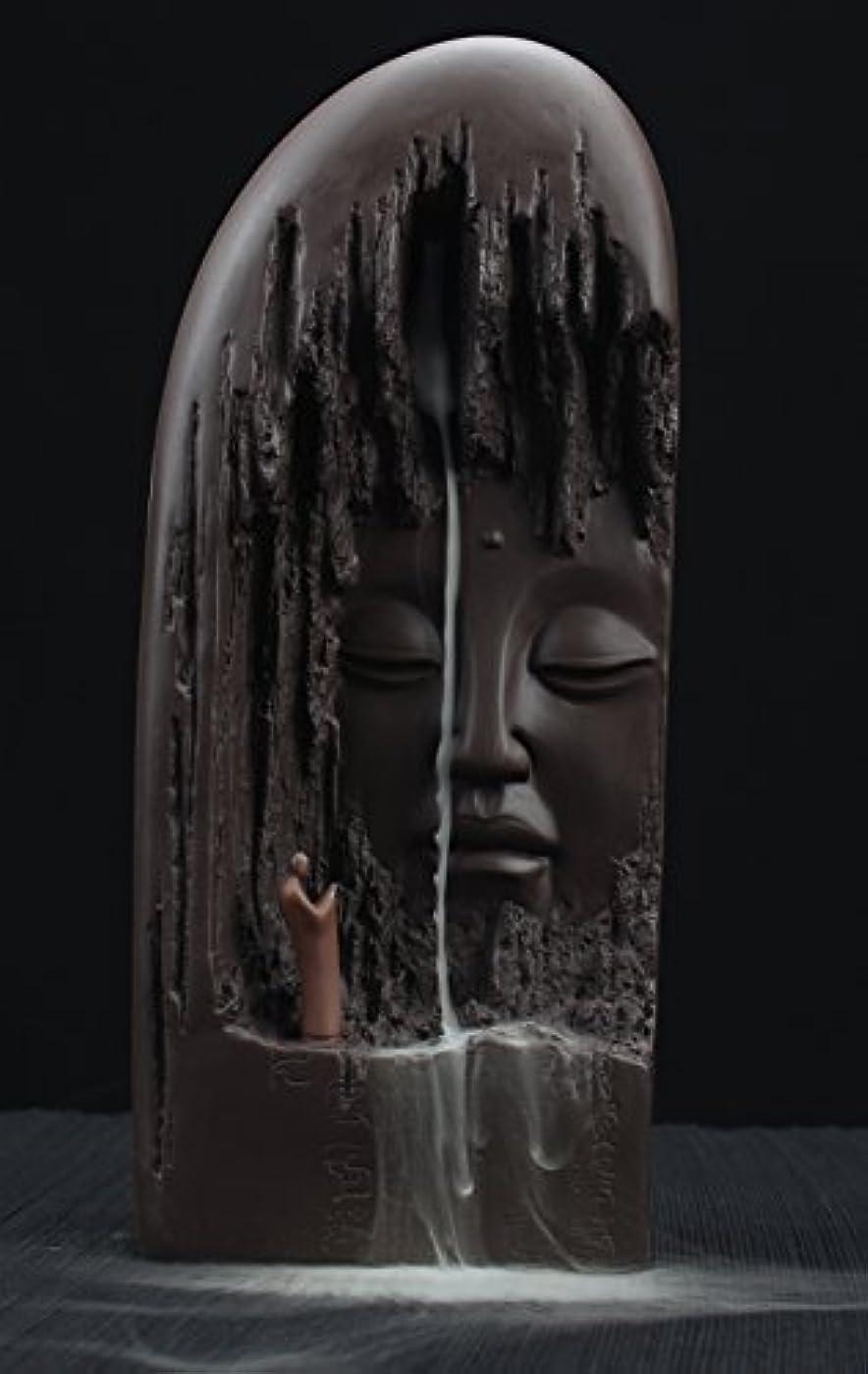 手土曜日ホラーETIALセラミックBudda Statue Backflow Incense円錐BurnerホルダーWaterfall Artwareホームオーナメント