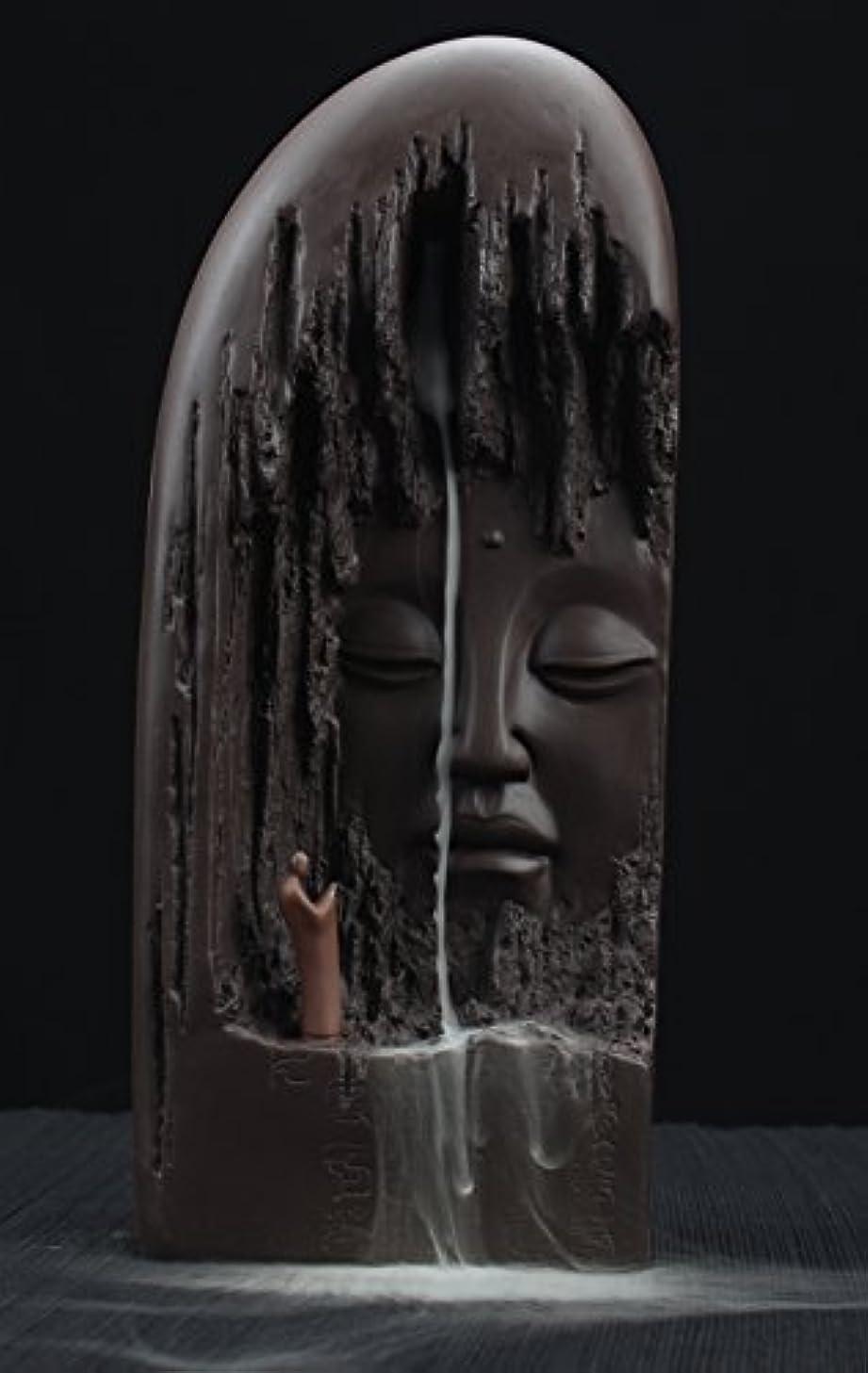 フォーラム重さ団結するETIALセラミックBudda Statue Backflow Incense円錐BurnerホルダーWaterfall Artwareホームオーナメント