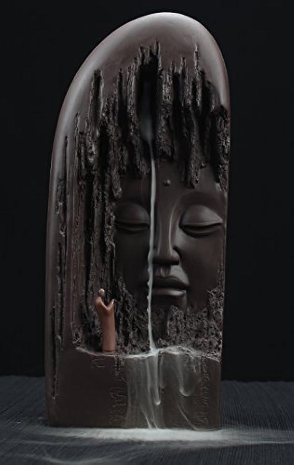 家庭休憩する彼女はETIALセラミックBudda Statue Backflow Incense円錐BurnerホルダーWaterfall Artwareホームオーナメント