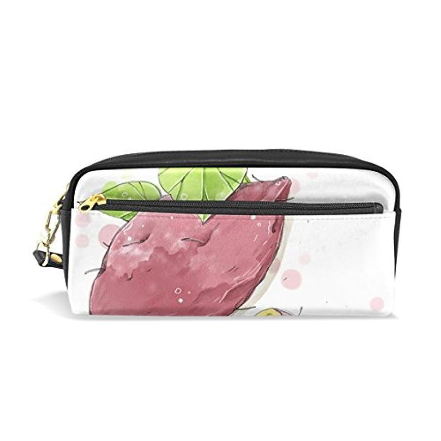 セクタ汚す乳AOMOKI ペンケース 化粧ポーチ 小物入り 多機能バッグ レディース サツマイモ ブラック