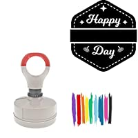 Happy Thanksgiving Day Round Badge Style Pre-Inked Stamp