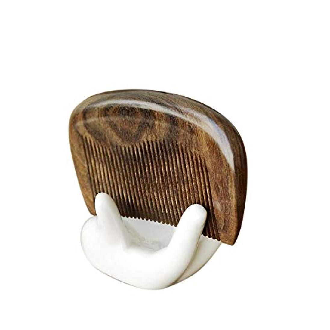 どんよりしたそして実業家Fashian木製のくし歯ファイン手作りの木製くし、女性のためのグリーンサンダルウッドアンチスタティックもつれ解除ホーンくし ヘアケア