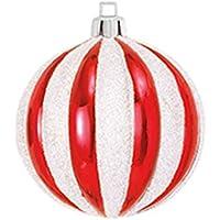 【クリスマスオーナメントボール・60から80】80mmストライプボール(グリッター)(6ケパック)(レッドプラチナ)