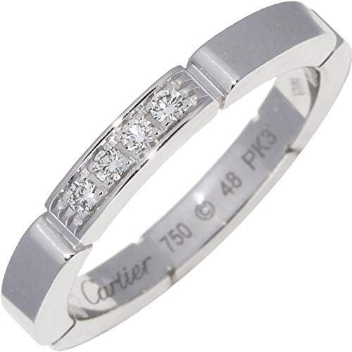 [カルティエ]Cartier K18WG(ホワイトーゴールド) ダイヤ4P(0.05ct) マイヨンンパンテール ウェディングリング 指輪 #48(8号) B40804 中古