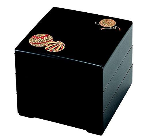 若泉漆器 3段重箱 6.5寸重 黒てまり(内黒) H-154-2-A