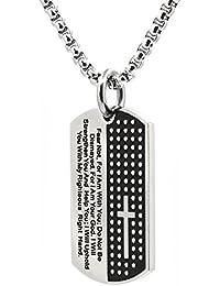 メンズブラックステンレススチールクロス彫刻と主の祈り犬タグペンダントネックレス