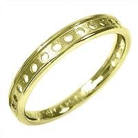 [スカイベル] k10イエローゴールド 指輪 丸抜き デザイン スタンダード メンズ リングサイズ 14.5号
