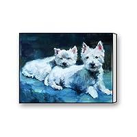 フリップド サマー キャンバスプリント 油絵 ウェスト ハイランド テリア アート 絵画 リビングルーム 寝室 ホーム オフィス 装飾 12インチ×16インチ