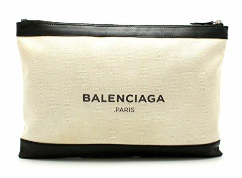 [バレンシアガ] BALENCIAGA NAVY CLIP クラッチバッグ ポーチバッグ キャンバス レザー ナチュラル ノアール アイボリー 黒 373840