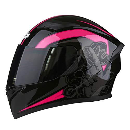 「テンカ」バイクヘルメット フルフェイス 角 システムヘルメット メンズ レディース ダブルシールド Helmet (頭囲 54cm~65cm未満) Bluetooth 防曇 大きいサイズ オートバイ/バイク/バッテリカーグ 黒ピンク/黒茶防曇シールド M