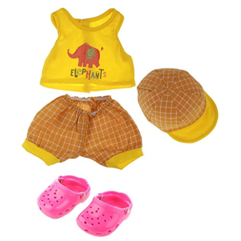 Lovoski 人形用 かわいい コットン製 服  ショーツ  キャップ  スーツ スリッパセット  18インチ アメリカンガールドール用