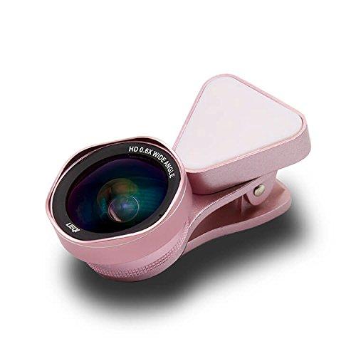 LIEQI LQ-035II 広角レンズ iphone スマホ レンズ セルカレンズ 自撮りライト 0.4x 広角レンズ 15x マクロレンズ 全機種対応 自撮り棒不要 iPhone Android タブレット (エレガントピンク)
