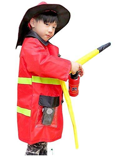 消防士 衣装セット (消防士コート、帽子、消火器、トランシーバー (サイレン) 、オノ、ホース) キッズコスチューム 男の子 90cm-140cm