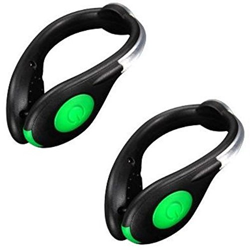 Araley シューズクリップライト 夜間ランニング ライト USB充電式 2個セット LED 赤青緑 ワンタッチ点灯 長持ち 高輝度 反射発光 事故防止 ジョギングライト 犬の散歩 クラブ イベント 納涼祭 コンサート 夜道 登山 アウトドア 運動 ウォーキング (グリーン)