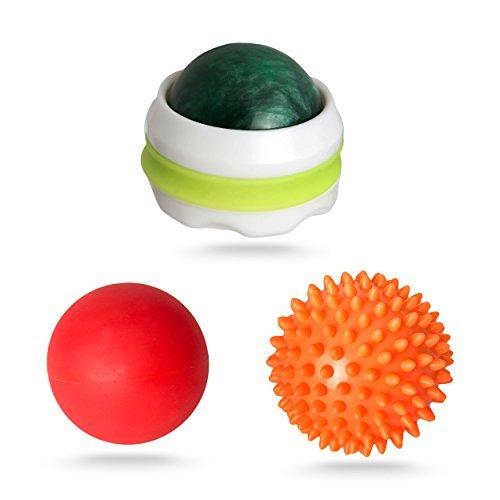 マッサージボール3点セット。深部の筋膜・筋肉へピンポイントに届き、コリ、張りを緩和。 脚、腰、背中、足裏、胸に効果的。マッサージローラー付。