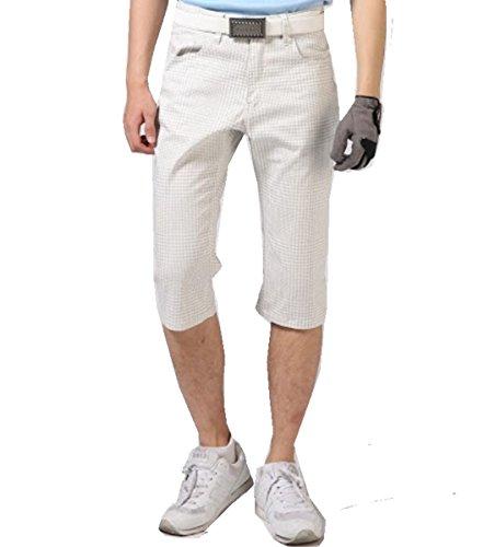 【NewEdition GOLF】 『白ストライプ柄・白チェック柄・カモフラージュ柄 ストレッチ メンズ ゴルフ ハーフパンツ小さいサイズ~大きい7サイズ NEG-022(ホワイト・チェック,3Lサイズ)
