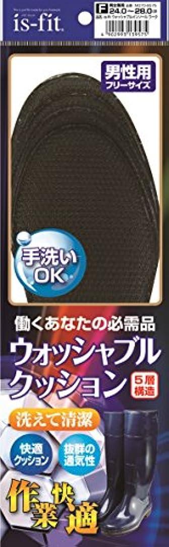 平凡本ロードブロッキングis-fit(イズフィット) ウォッシャブルインソール ワーク 男性用 ブラック