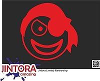 JINTORA ステッカー/カーステッカー - pirates emoticons - 海賊団の顔文字 - 99x99 mm - JDM/Die cut - 車/ウィンドウ/ラップトップ/ウィンドウ - 赤