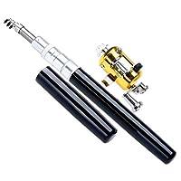 ポータブルポケットテレスコピックミニ釣り竿ペン形状折り畳まれた釣り竿とリールホイール釣り竿ペン (Color : Black)