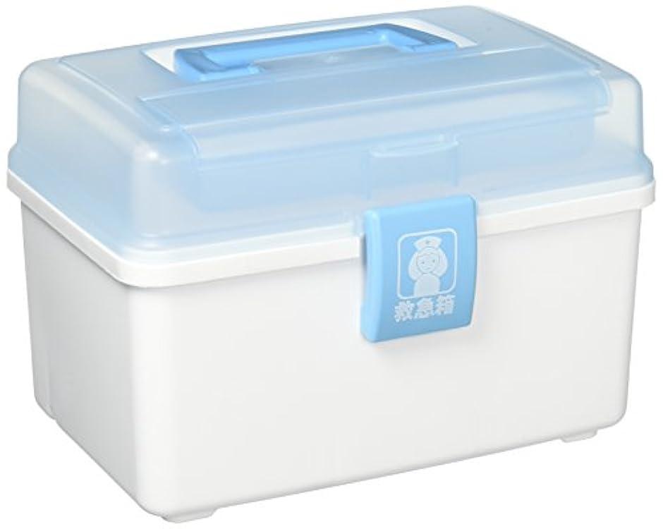 アイリスオーヤマ 工具箱 救急箱外傷薬用 QB-180 クリアブルー/ホワイト 幅26×奥行17×高さ18cm