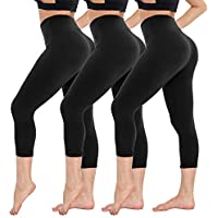 CAMPSNAIL 3 Pairs Plus Capri Leggings Yoga Soft Tunic Lined for Leggings Slim Stretchy Leggings Sport Skinny Pants for Women