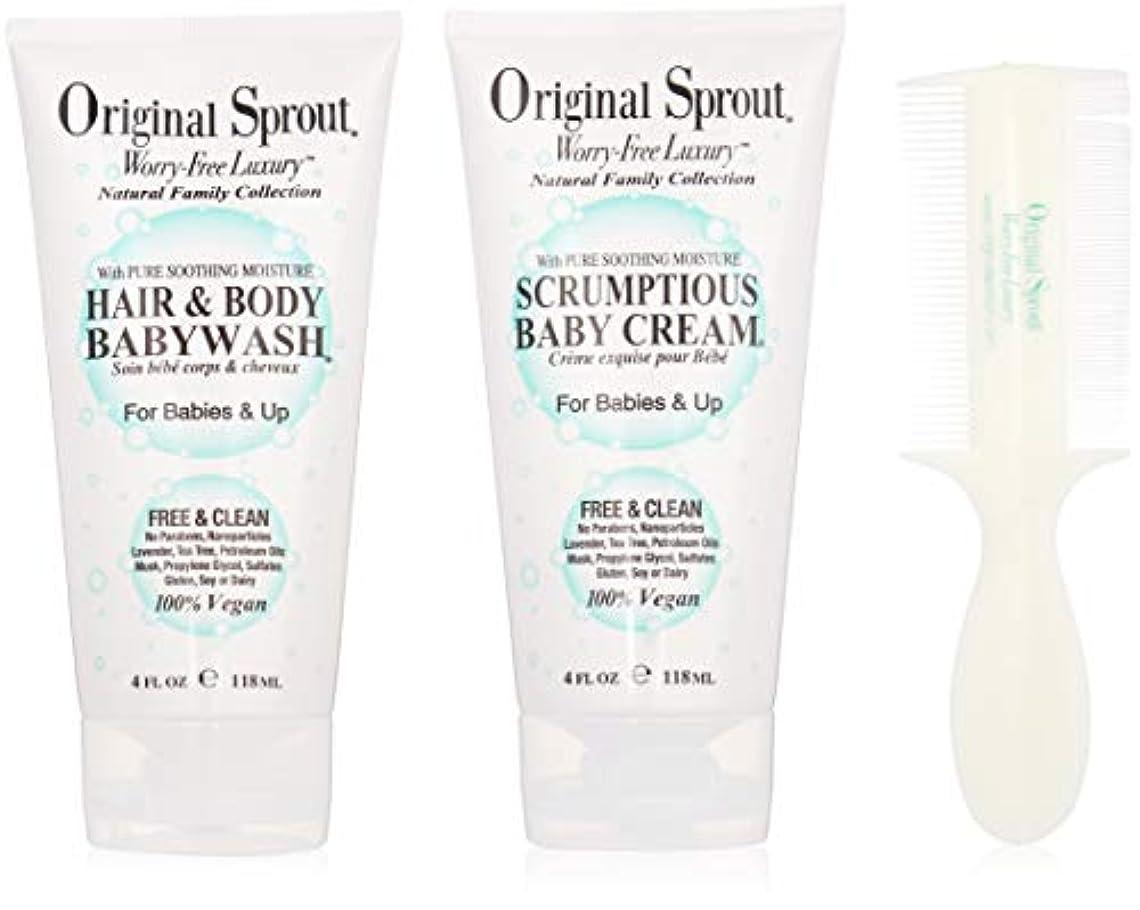 呼吸するユーモラス普遍的なOriginal Sprout Baby's First Bath Kit: 1x Hair & Body Baby Wash 118ml + 1x Scrumptious Baby Cream 118ml + 1x Comb...