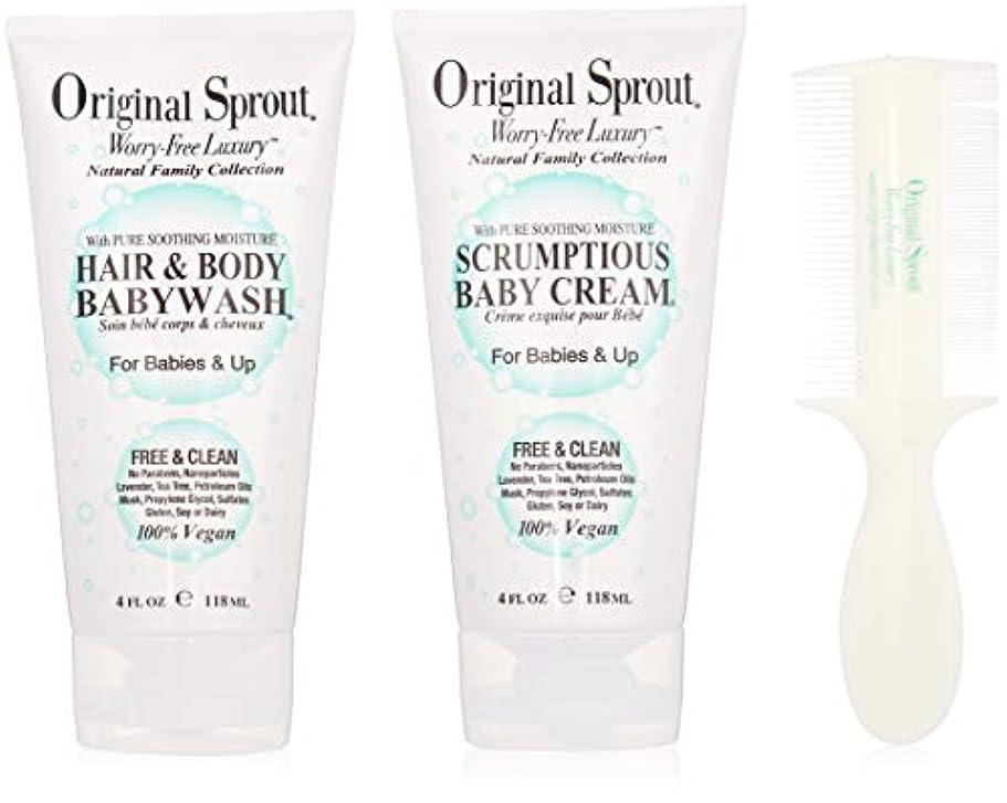 前部クレデンシャルそうでなければOriginal Sprout Baby's First Bath Kit: 1x Hair & Body Baby Wash 118ml + 1x Scrumptious Baby Cream 118ml + 1x Comb...