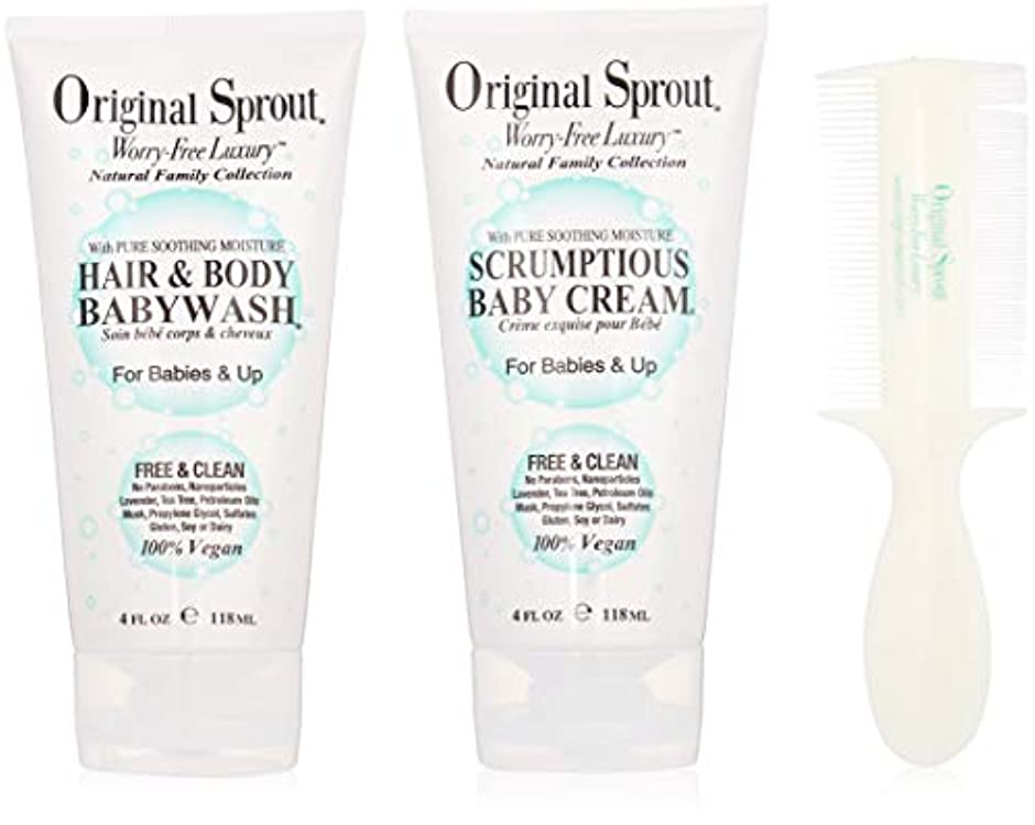 見るスペイン語敵意Original Sprout Baby's First Bath Kit: 1x Hair & Body Baby Wash 118ml + 1x Scrumptious Baby Cream 118ml + 1x Comb...