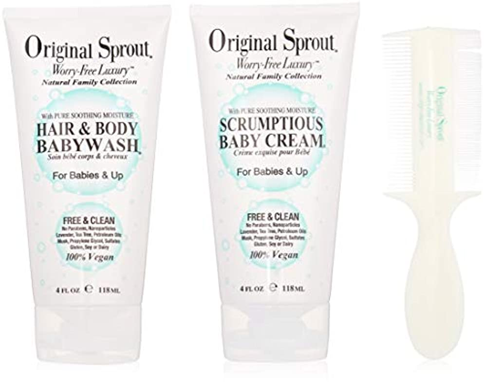 大人戻すバイバイOriginal Sprout Baby's First Bath Kit: 1x Hair & Body Baby Wash 118ml + 1x Scrumptious Baby Cream 118ml + 1x Comb...