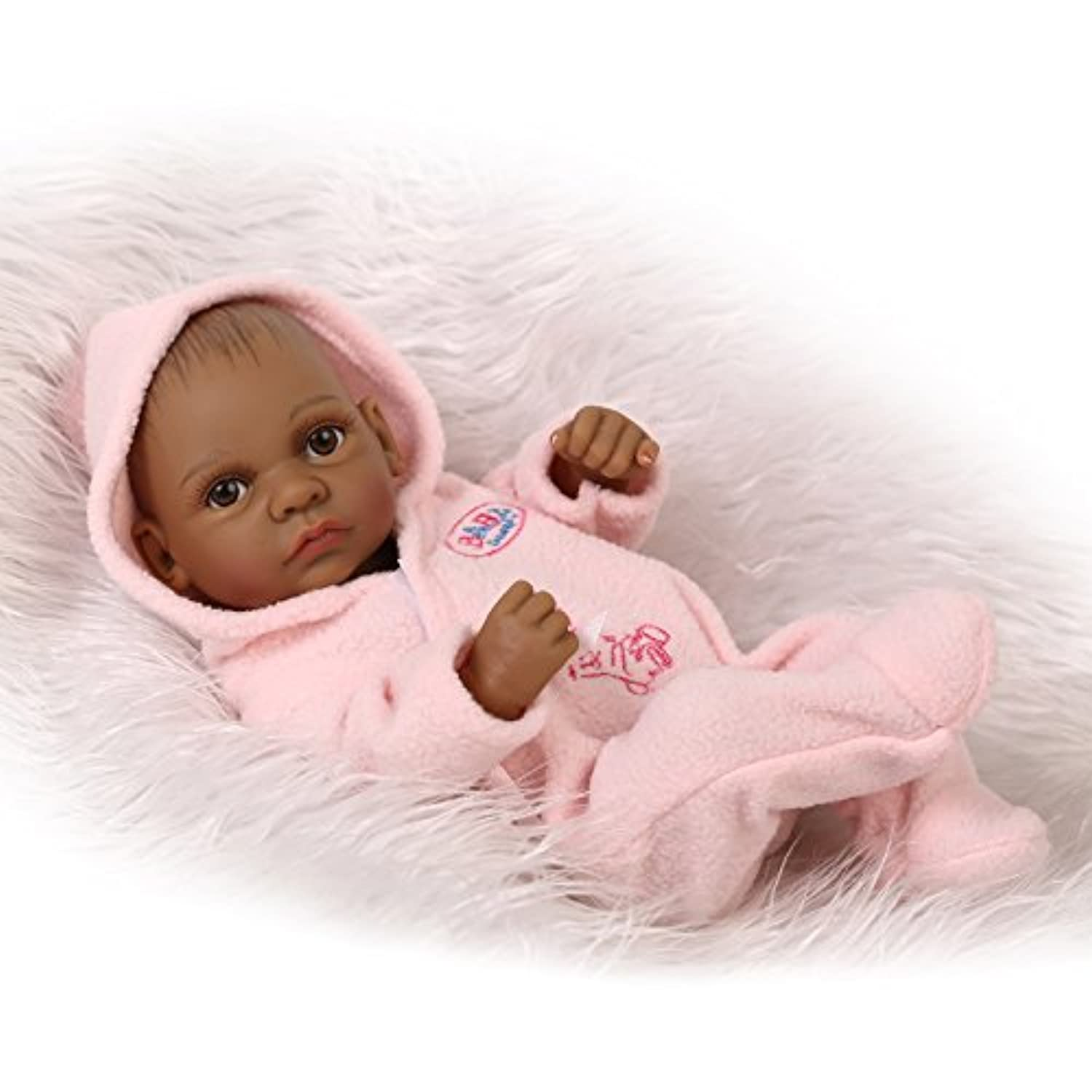 Mini Black Indian Real Lifelike Reborn Baby Doll Full Body Vinyl Silicone Realistic Looking 10