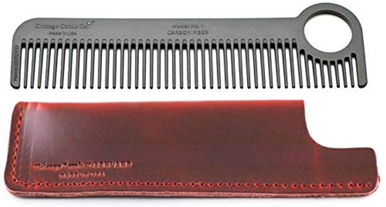 Chicago Comb Model 1 Carbon Fiber Comb + Crimson Red Horween leather sheath, Made in USA, ultimate pocket and...